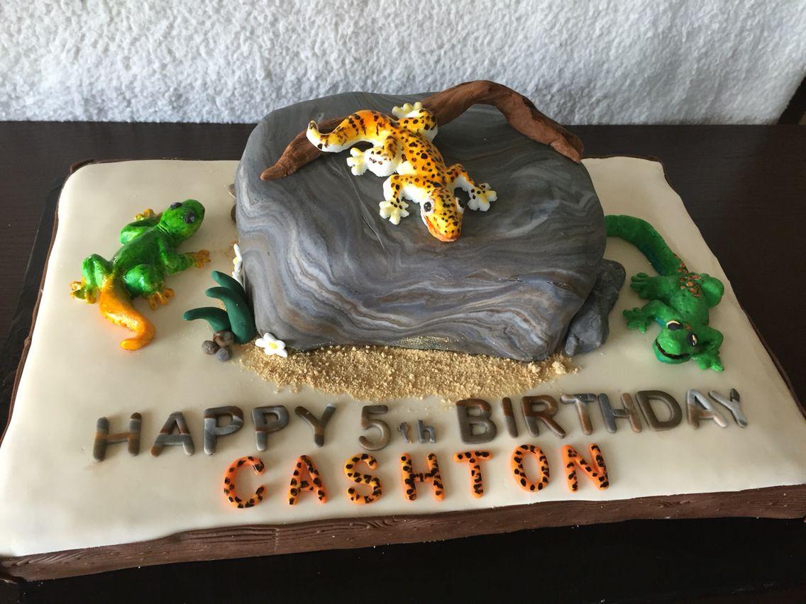 Lizard themed birthday cake