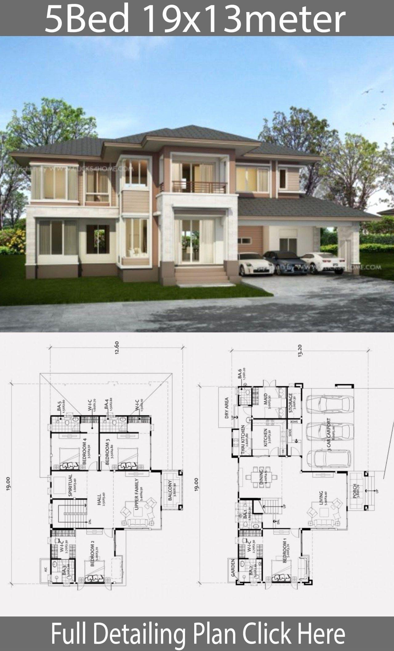5 Bedroom Bungalow House Plans Luxury Home Design Plan 19x13m With 5 Bedrooms In 2020 Bungalow House Plans Beautiful House Plans House Architecture Design