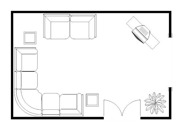Room plan living room sectional floor plan example for Living room floor plan