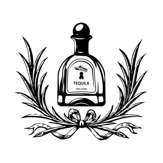 Tequila Logo Bottle 1 Barrel Pub Bar Tavern Brew Brewery Etsy In 2021 Bottle Drawing Bottle Tattoo Bottle Logo
