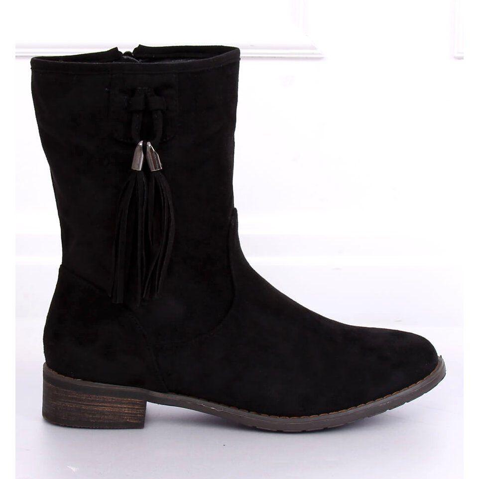 Botki Damskie Plaskie Czarne 99 133 Black Womens Boots Boots Womens Black Flats