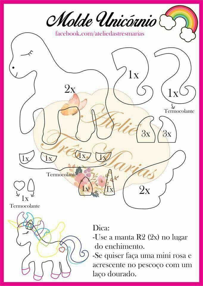 Unicornio | plush, sock toy | Pinterest | Unicornio, Molde y Unicornios