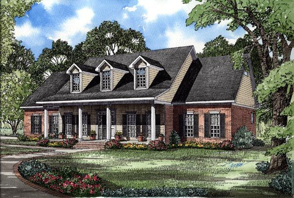 Southern Style House Plan 62072 With 4 Bed 3 Bath 2 Car Garage Country Style House Plans Colonial House Plans Country House Plans