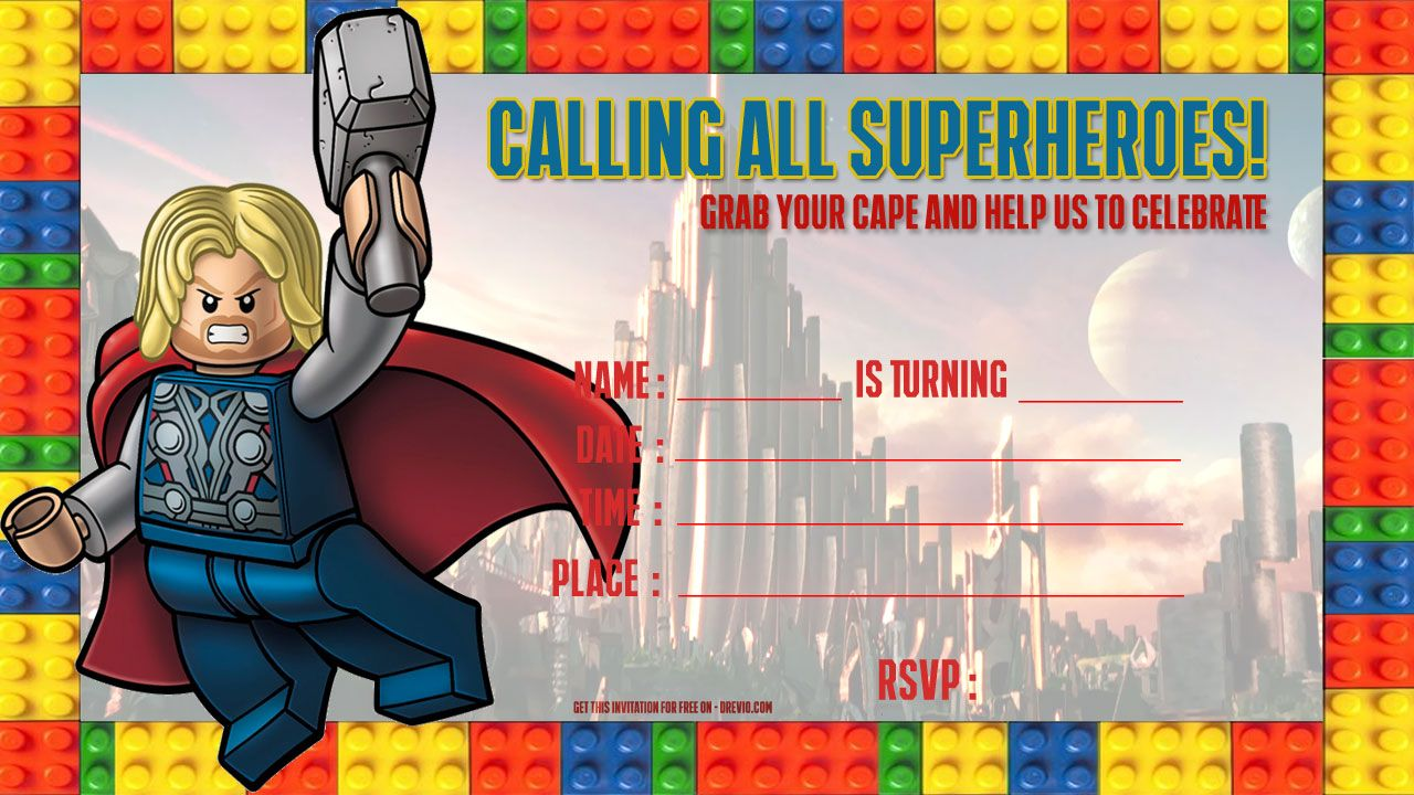 lego thor birthday invitation template