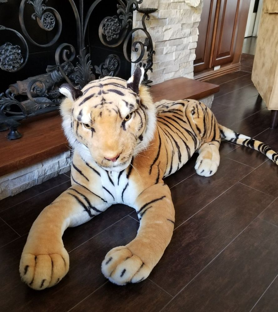 Jumbo Tiger Plush Stuffed Animal Jungle Bengal Realistic 46 29 Tail Big Cat Plush Stuffed Animals Cat Plush Animals