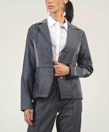 Loving this Blue & Gray Patchwork Button-Up Jacket on #zulily! #zulilyfinds