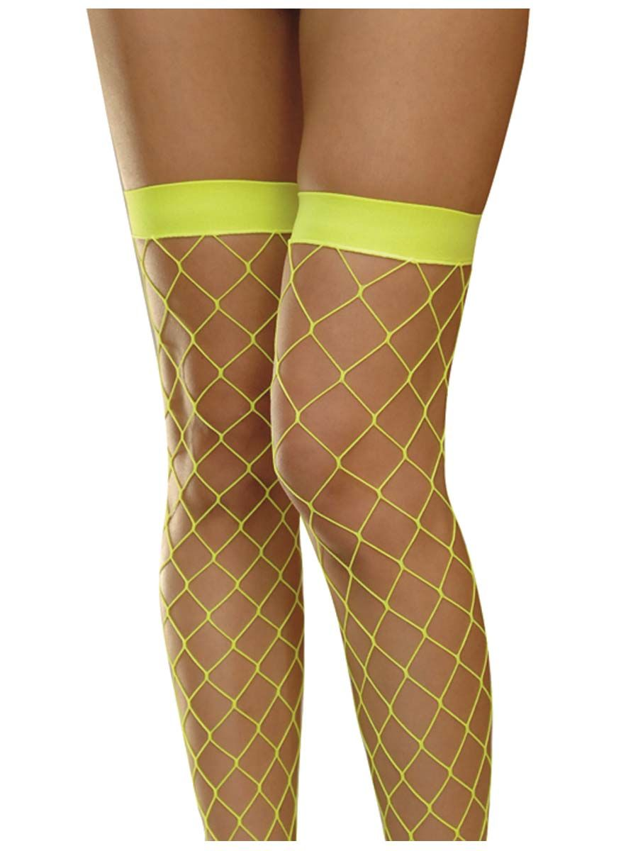 5d11dc27d80f5 Neon Thigh High Fishnets with a cute pair of denim shorties or tutu, what a  cute costume for the party!!!