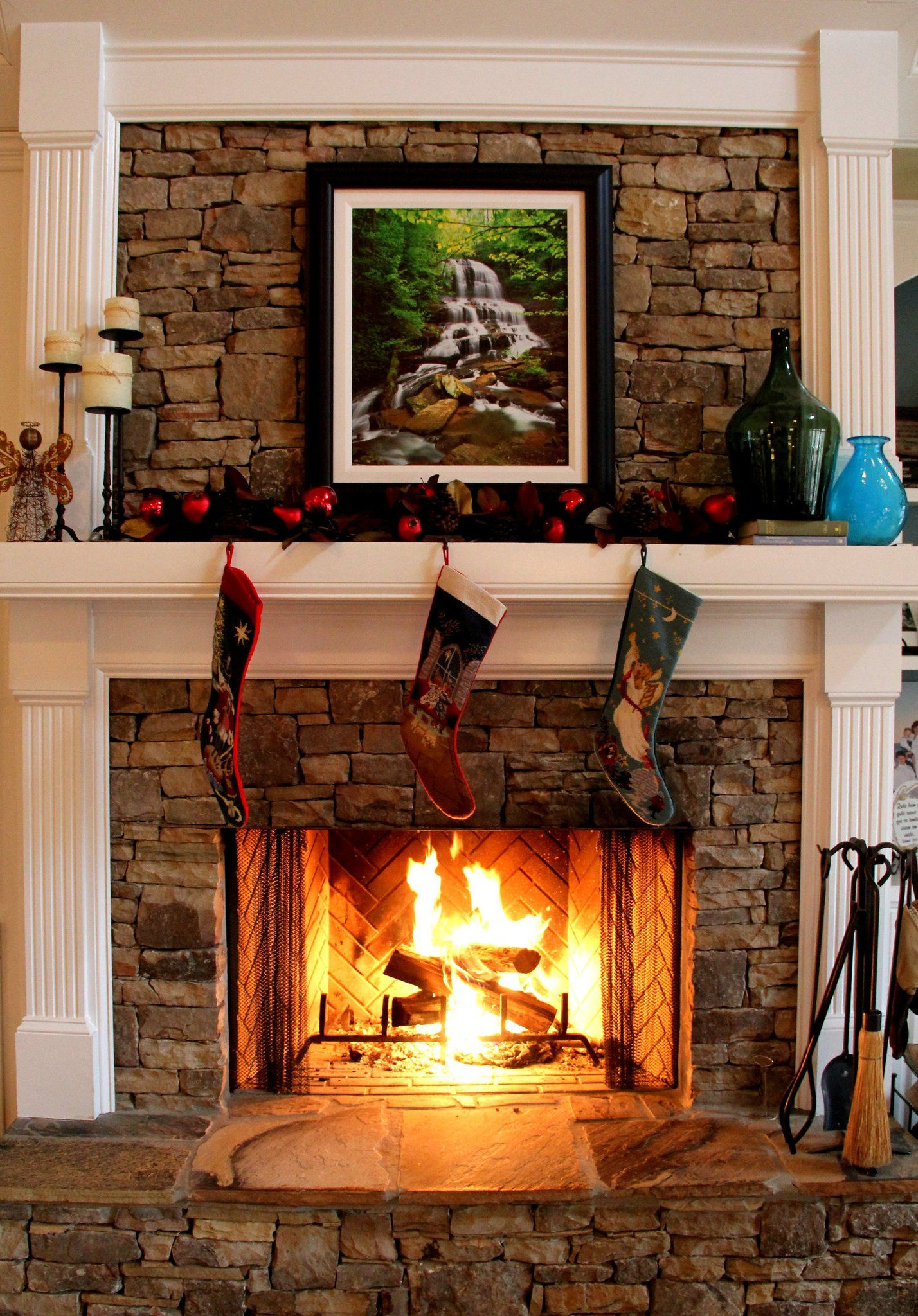Stacked stone fireplace cabin fireplaces wood stoves - Stone and wood fireplace ...