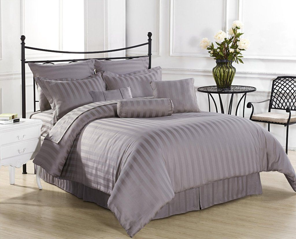 EGYPTIAN Bedding- 600 Thread Count Duvet Cover Set UK Double Silver Grey Striped 100% Egyptian