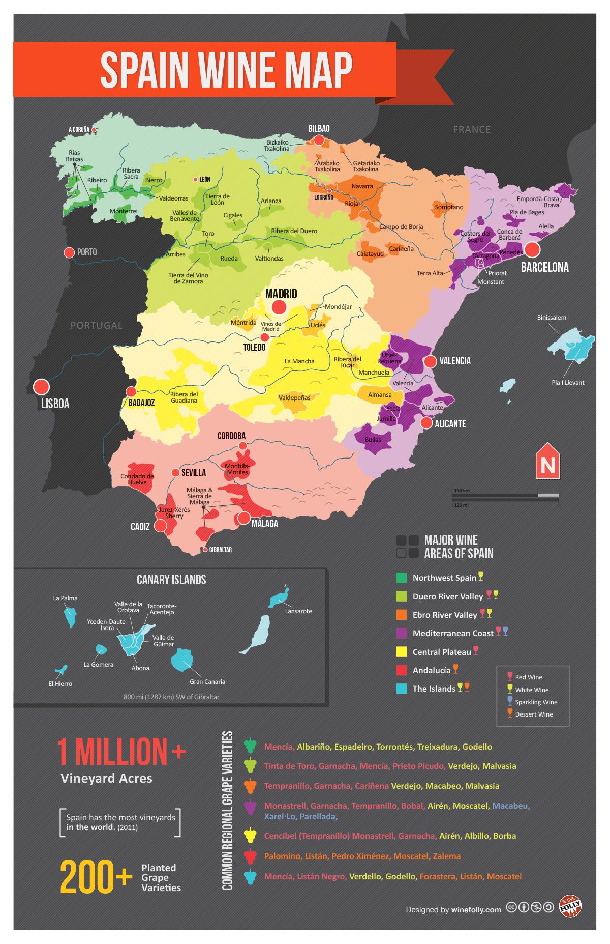 Map of Spanish wine regions, via reddit | Spain | Spanish