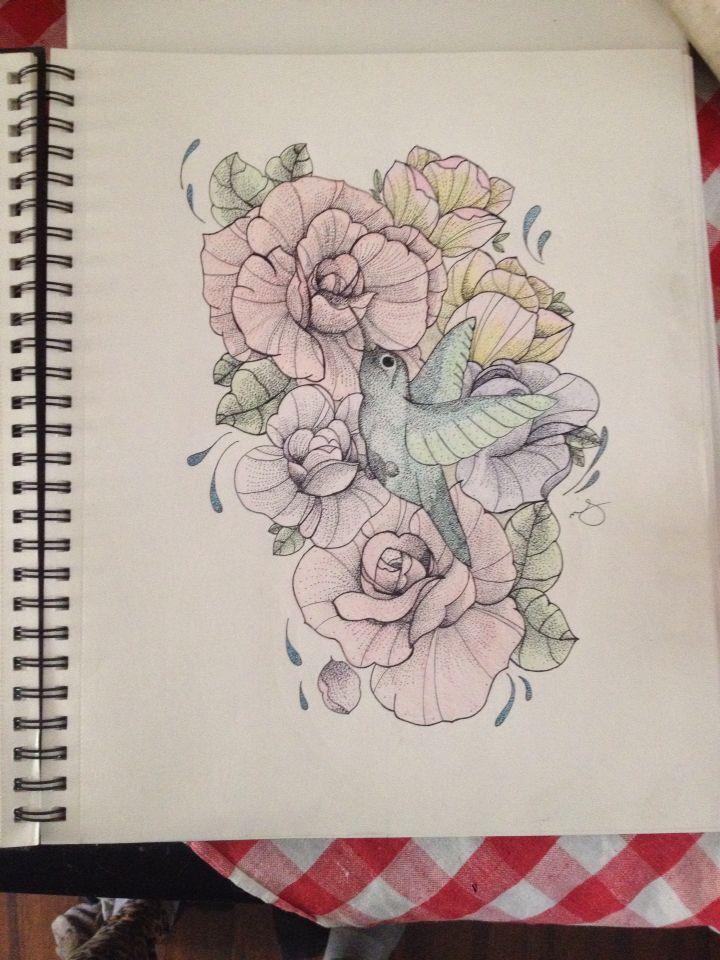 Hummingbird and flowers   #tattoos #tattoodesign #hummingbird #flowers