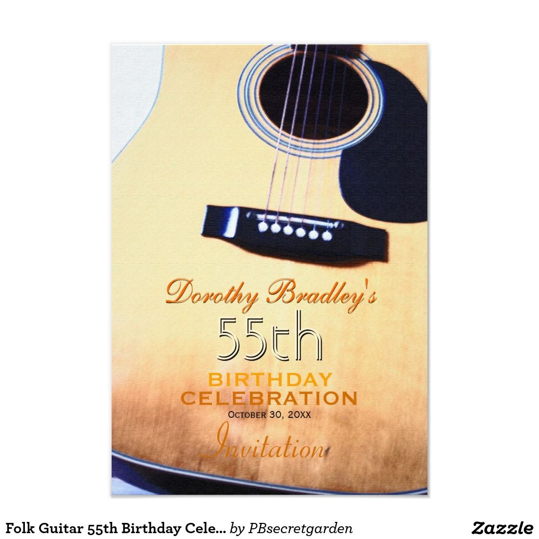 Folk Guitar 55th Birthday Celebration Custom 3.5x5 Paper Invitation Card