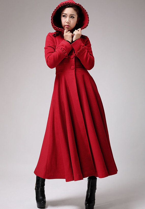 Red coat, long coat, wool coat, hooded coat, winter jacket, ruffle ...