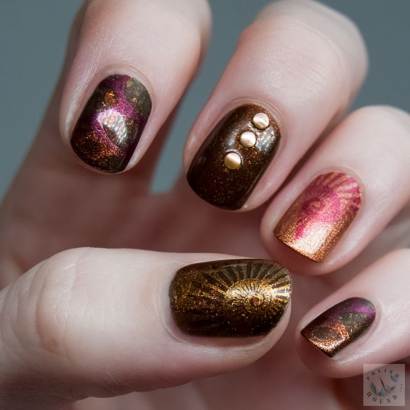 Fall MoYou Stamped Skittle Nails [Nail Art]