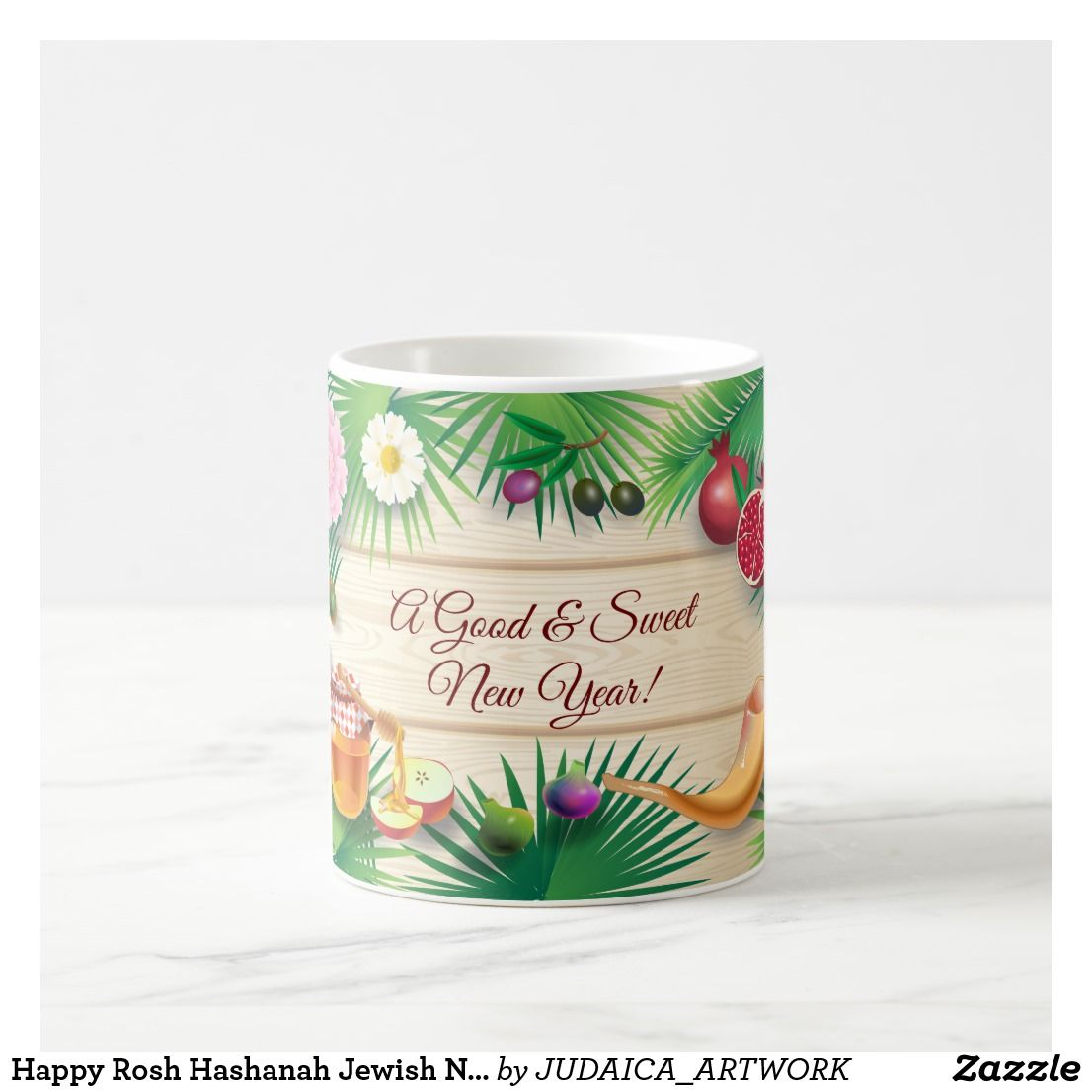 Happy Rosh Hashanah Jewish New Year Honey & Apple Coffee Mug | Zazzle.com #happyroshhashanah
