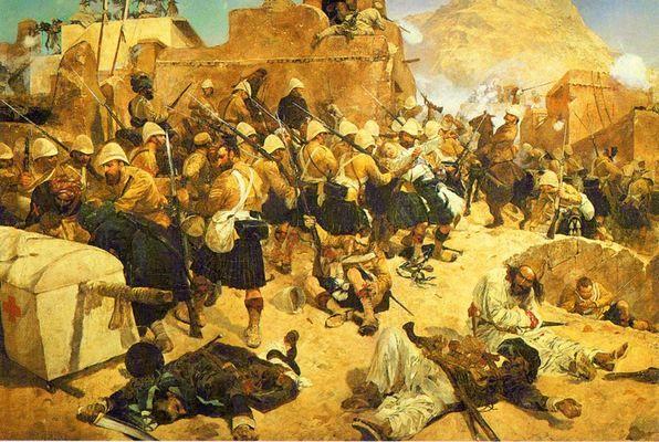 lord roberts and the highlanders in kandahar painted by richard caton woodville the highlanders and gurkhas assaulted the gaudi mullah sahibdad at kandahar