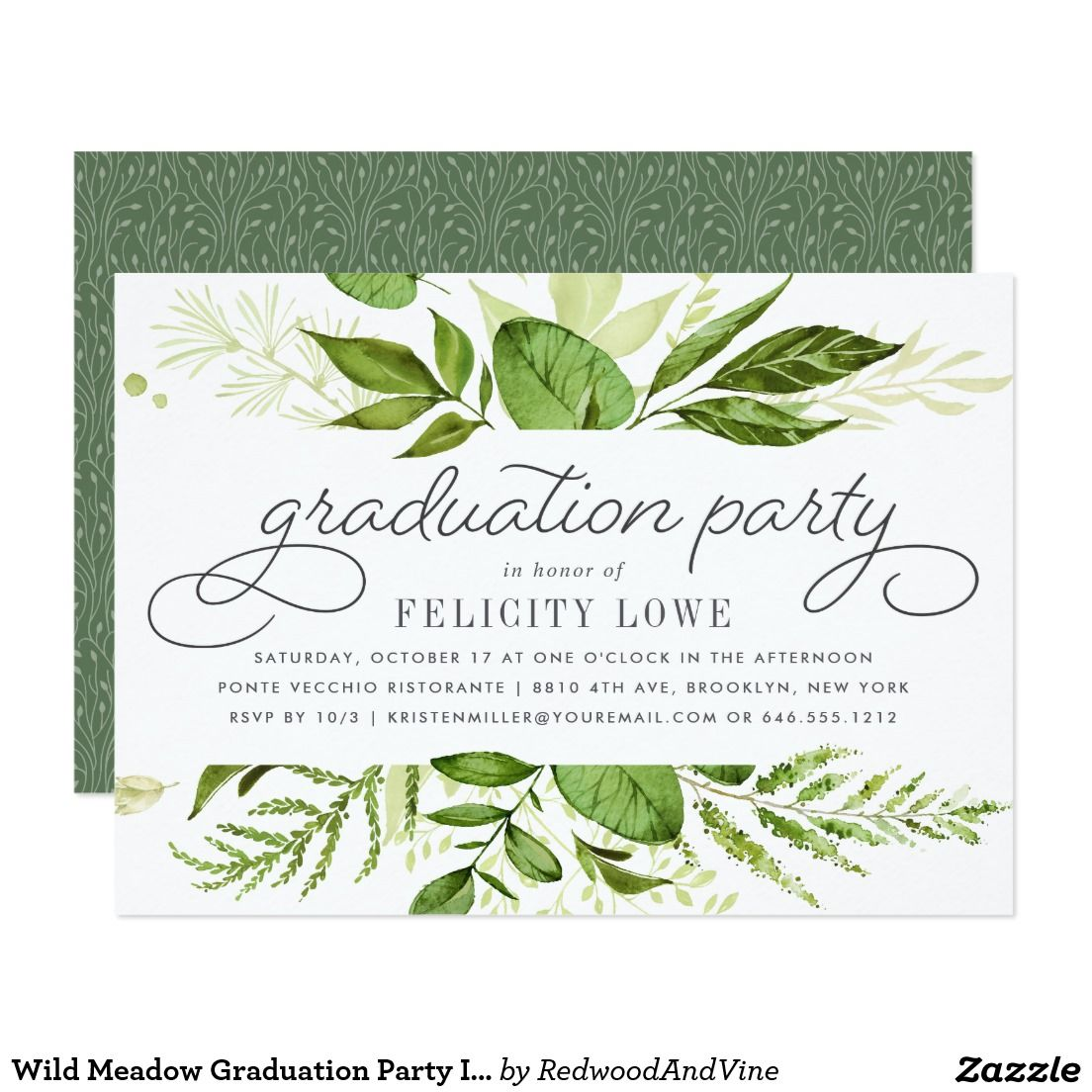 Wild Meadow Graduation Party Invitation Party Invitations