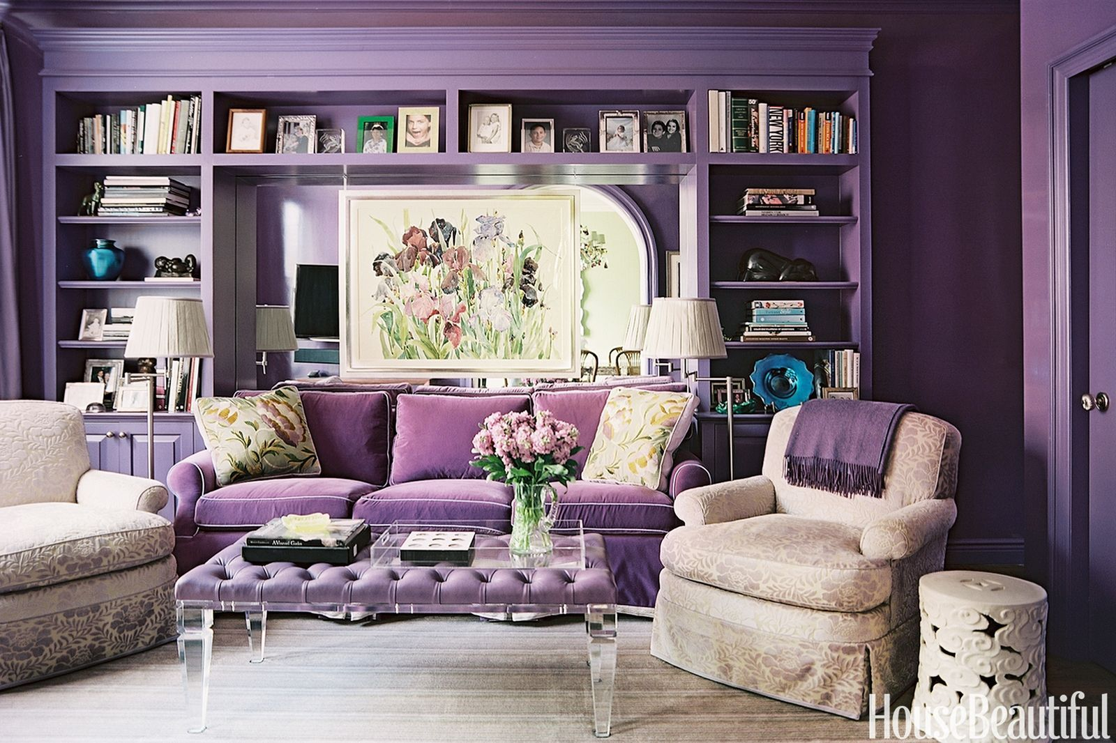 18 Purple Rooms That Prove Lilac S The New Millennial Pink Purple Living Room Purple Room Decor Lavender Living Rooms
