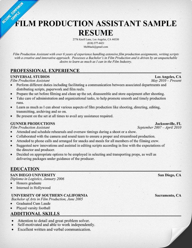 Film Production Resume (resumecompanion) Resume Samples Across