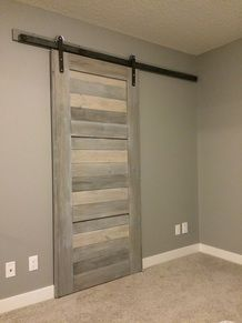 Barn Door And Hardware Purchased At Menards Stained In Weathered Grey With Images Interior Barn Doors Bathroom Barn Door Sliding Barn Door Hardware