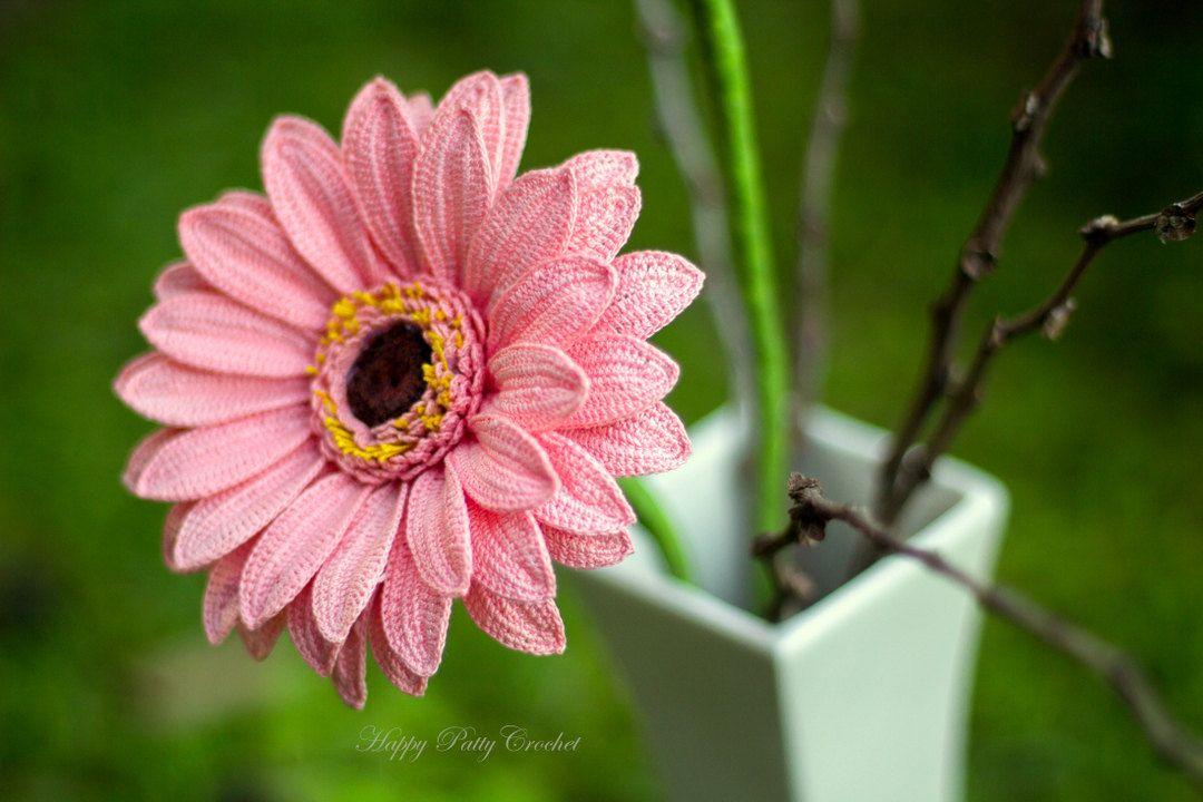 Crochet Gerbera PATTERN - Crochet Gerbera Daisy Flower Pattern ...
