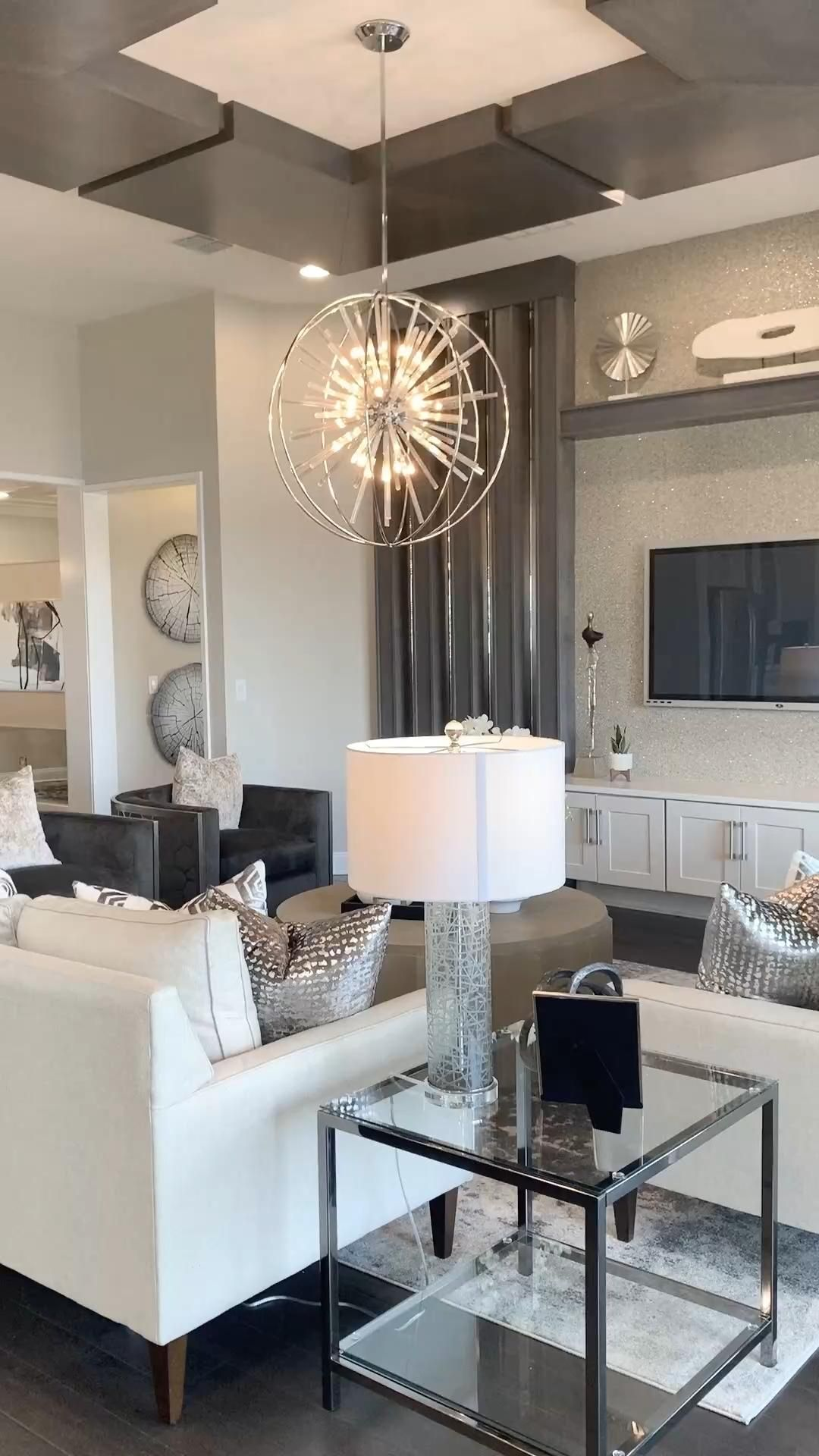 The most requested new home design is the Open Concept. With neutral decor, hard wood floors and a touch of glam completes this interior design idea. #NewHomes #ModelHomes #decorideas