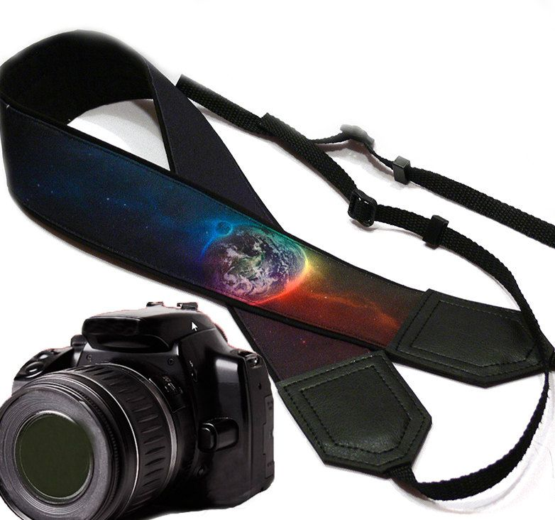 Galaxy camera strap. Cosmos Camera strap.  DSLR Camera Strap. Camera accessories. Nikon  Canon camera strap. - pinned by pin4etsy.com