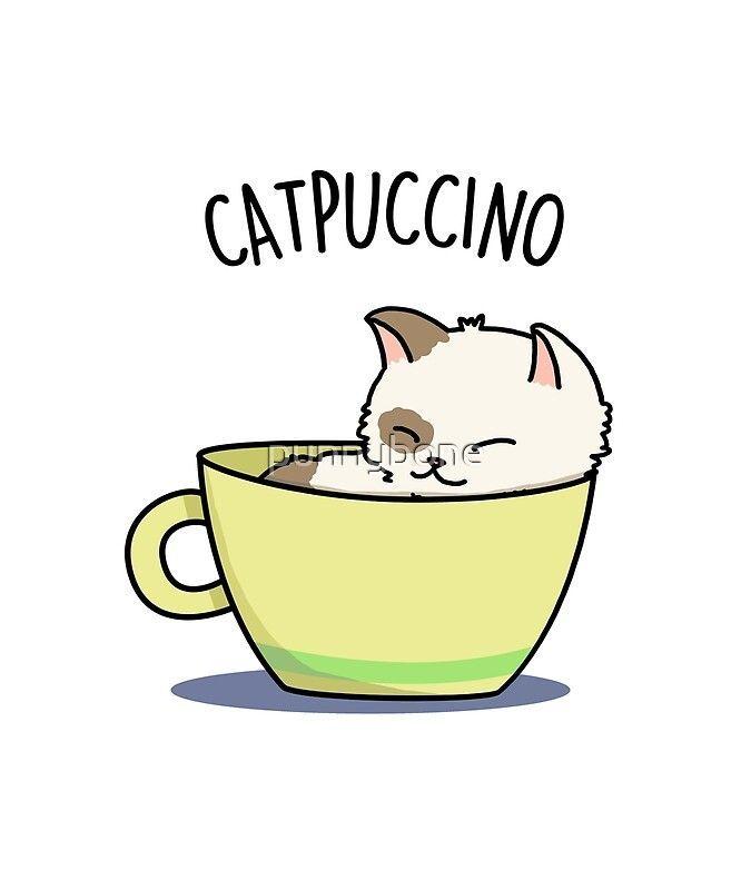 Sticker 'Mignon Catpuccino Animal Pun' par punnybo