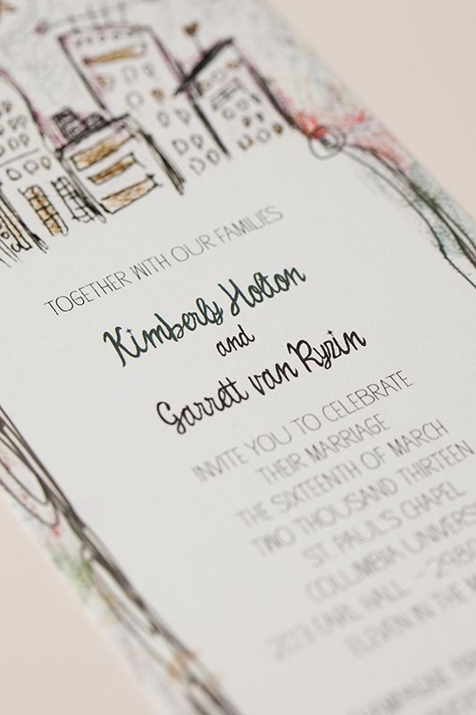 Whimsical Illustrated NYC Wedding Invitations by Katie Fischer Design via Oh So Beautiful Paper (3)