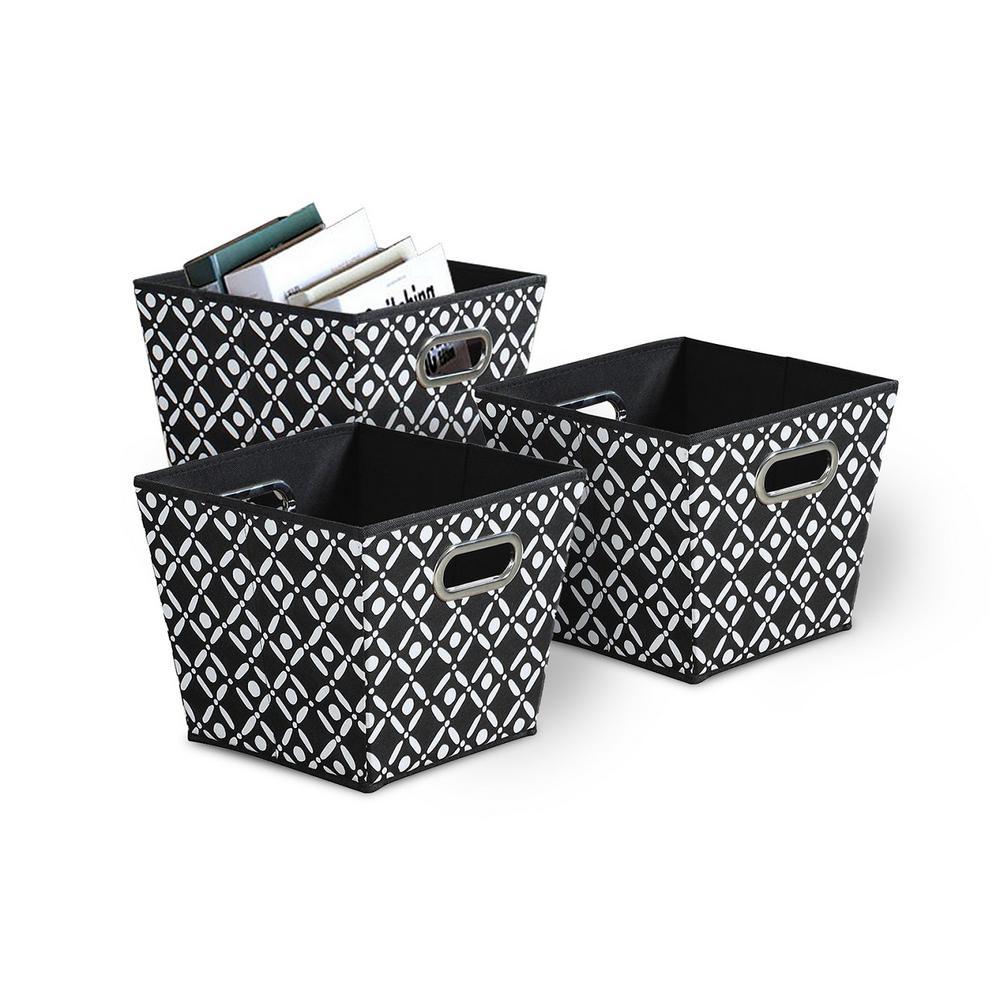 Target Marketing Collapsible Fabric Bins 3 Pack Black White