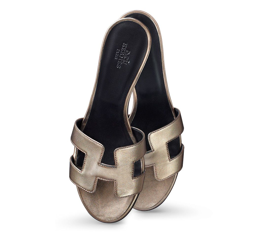 Hermes sandals dance shoes - Oasis Hermes Ladies Sandal In Bronze Laminated Nappa Leather With Black Lining And Leather Sole