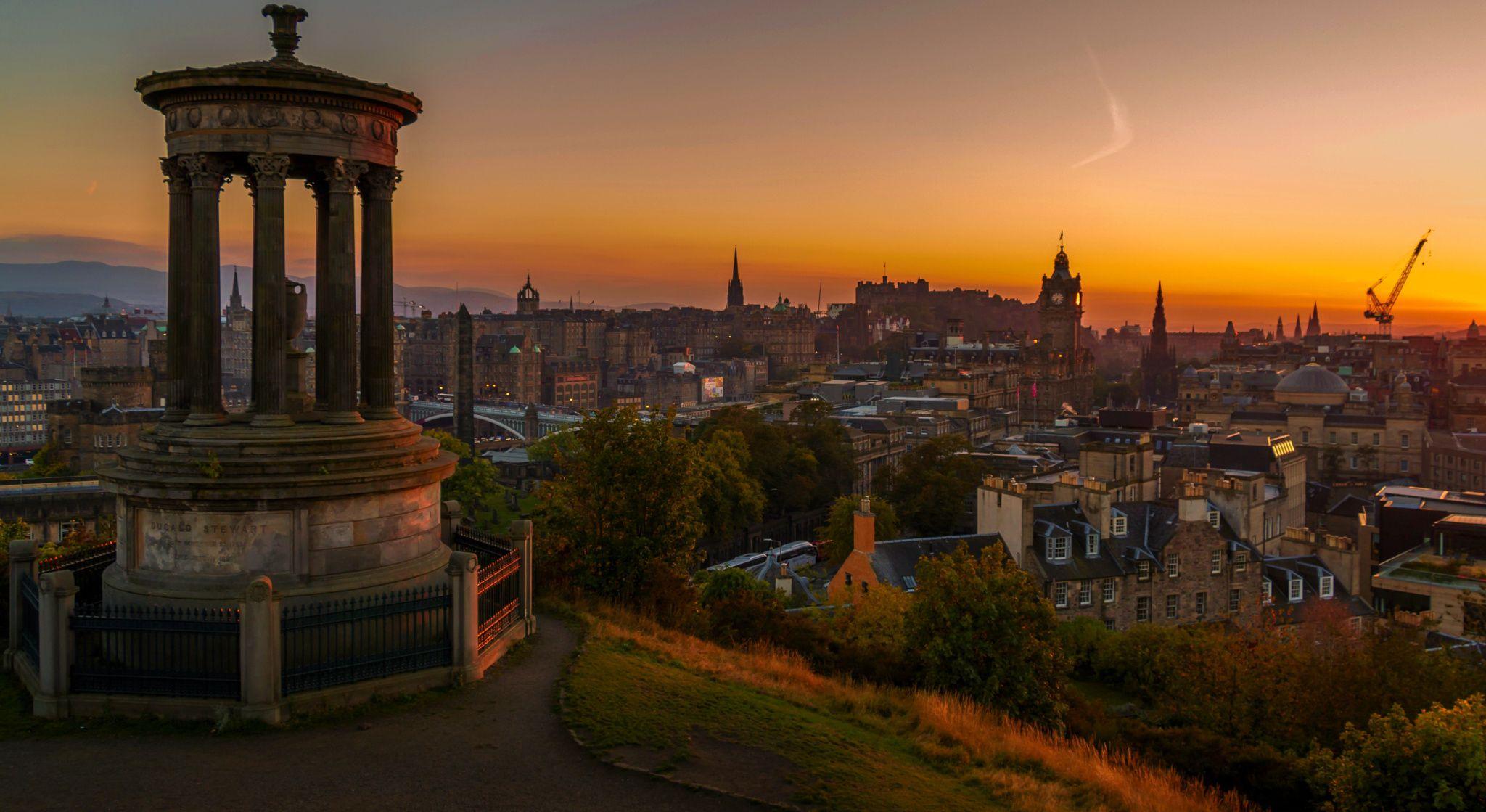 Sunset Over Edinburgh The Dugald Stewart Monument Is A Memorial
