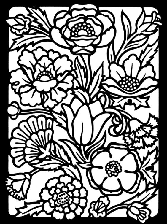 Free Stained Glass Coloring Page For Grown Ups Drawing Coloring