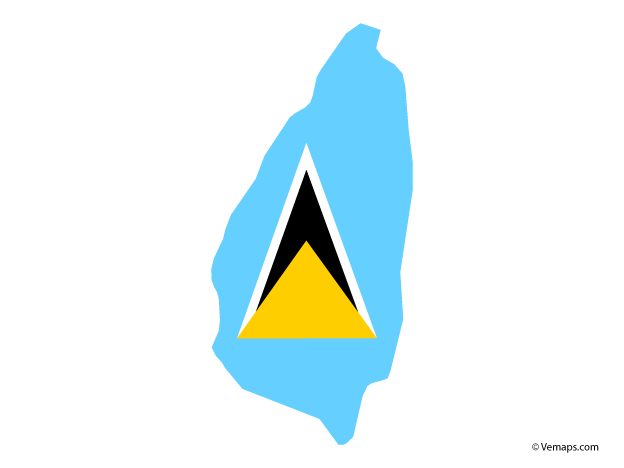 Flag Map Of Saint Lucia Free Vector Maps Map Vector St Lucia St Lucia Flag