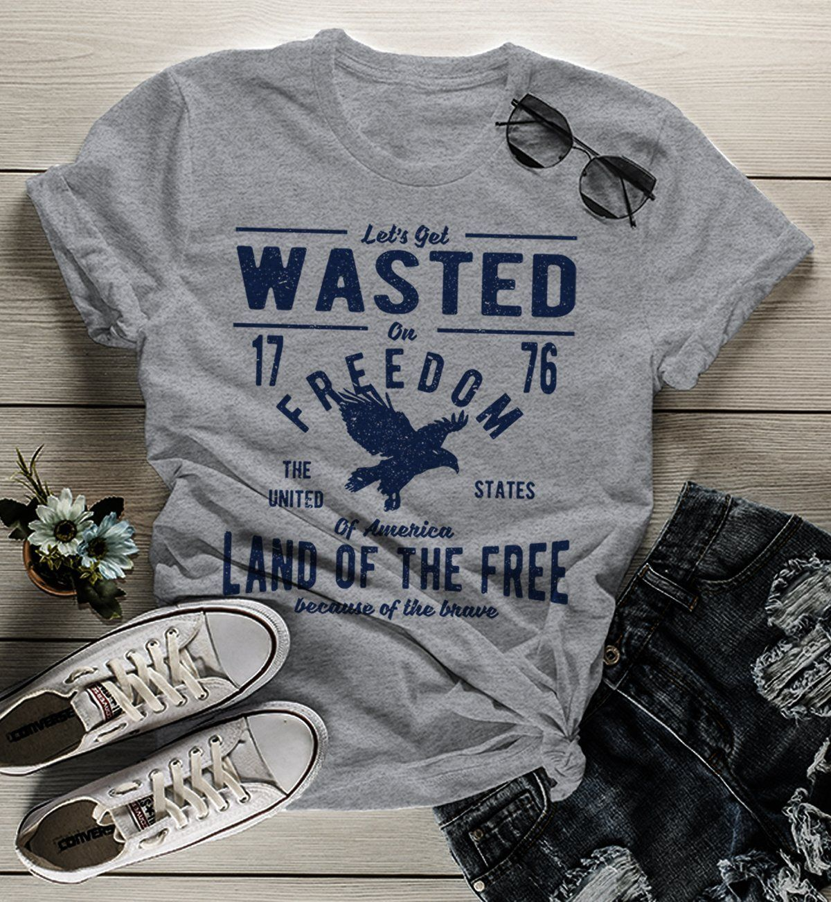 Women's Wasted On Freedom T Shirt 4th July Independence Day Vintage Shirts Graphic Tee Eagle 1