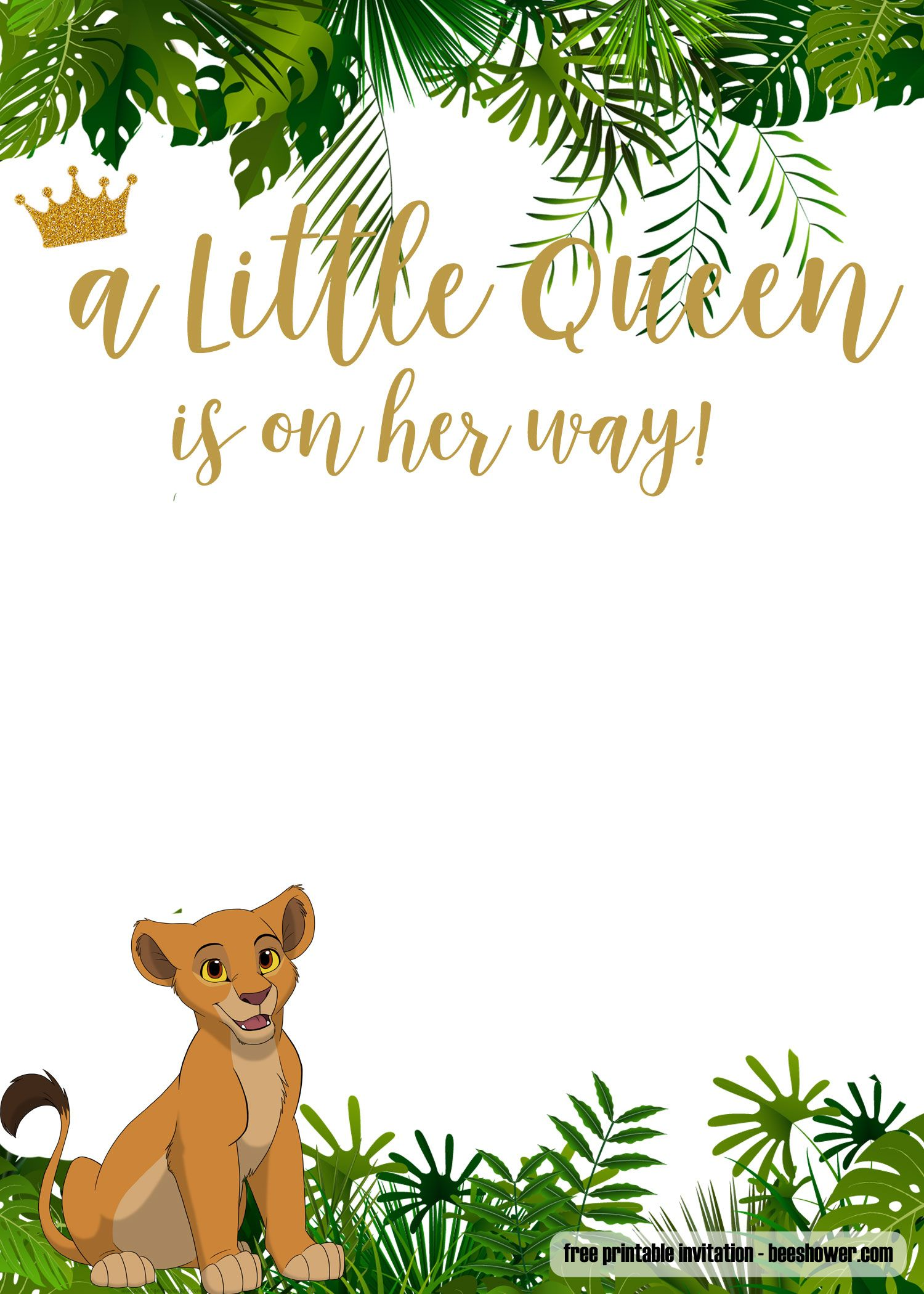 FREE Printable Lion King Baby Shower Invitations Free Printable Birthday Invitation Lion