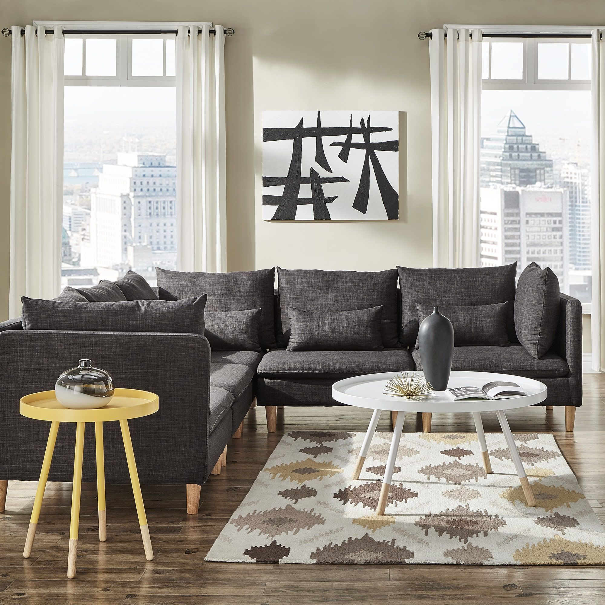 Malina Modular Fabric L-Shaped Sectional Sofa by iNSPIRE Q Modern by  iNSPIRE Q