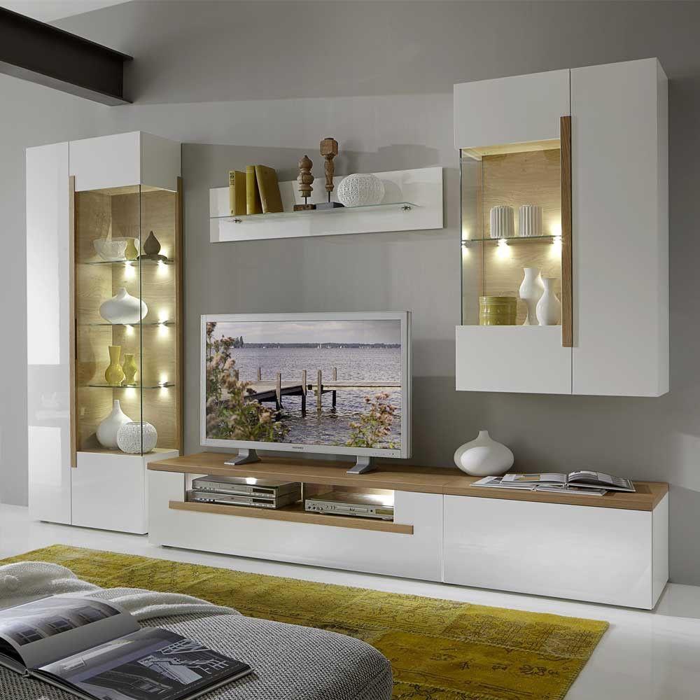 Wohnwand In Weiß Hochglanz Eiche Mit LED Beleuchtung (4 Teilig)   Tolle,