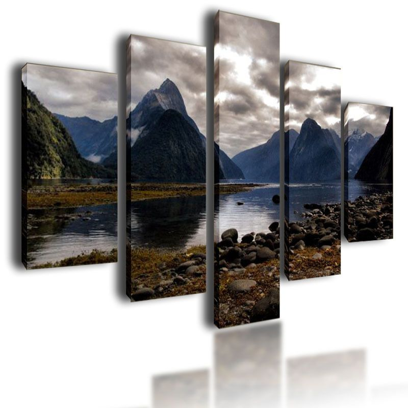 LARGE CANVAS PICTURES MOUNTAINS WALL ART SPLIT MULTI PANEL PARTED PAINTING  100cm