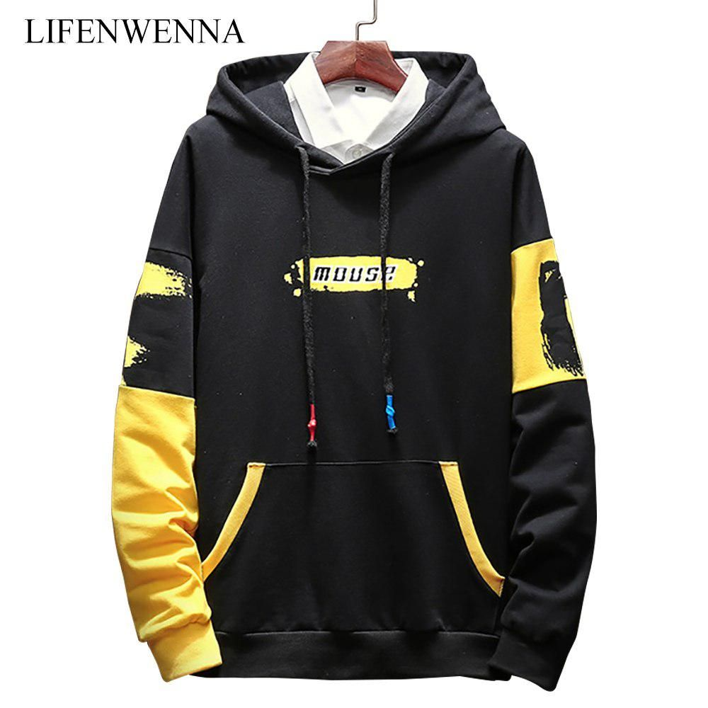 Smile TO Men Patchwork Long Sleeve Pullover Crewneck Autumn and Winter Mens Sweatshirts