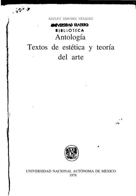 Antologia Textos De Estetica Y Teoria Del Arte Lecciones De