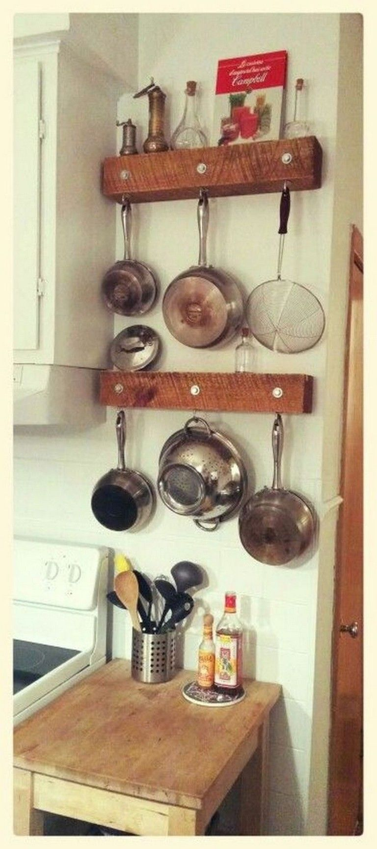 15 Beautiful Decorative Rustic Storage Projects For Your Kitchen Hanging Racks Hanging Pots Decor
