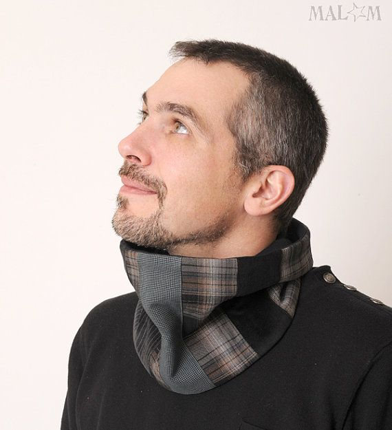 Dark Grey Cowl - Black and gray patchwork Mens Neckwarmer/ Cowl Scarf - Plaid and stripes