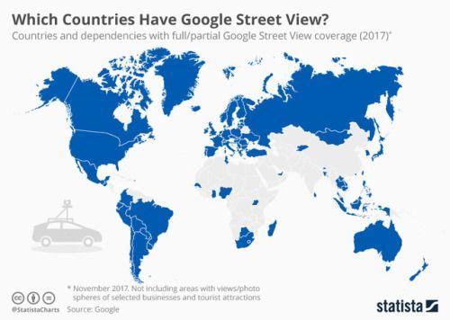 Google Street View Availability Across The World.