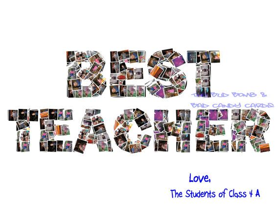 """""""Best Teacher"""" photo collage of students.  Great teacher gift from class!"""