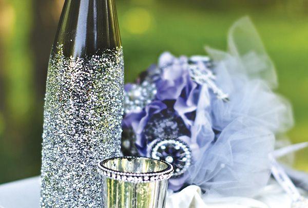 Glitzy Great Gatsby Inspired Wedding Table Wine bottle
