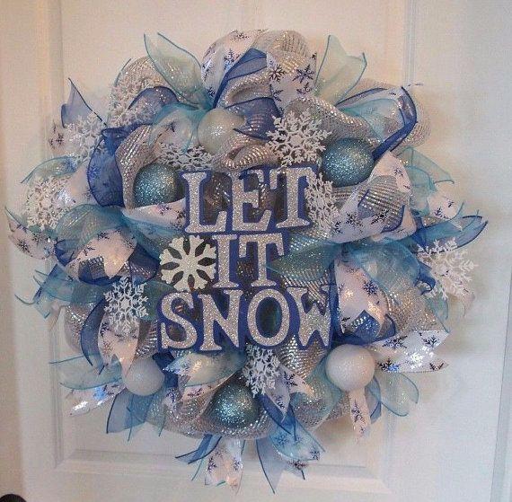 Blue Silver Deco Mesh Winter Let It Snow Wreath Snowflakes Christmas Wreath Winter Mesh Wreath Deco Mesh Wreaths Snowman Christmas Decorations