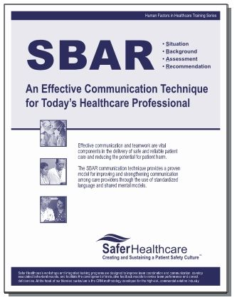 Sbar  Situation Background Assessment Recommendation  Safer