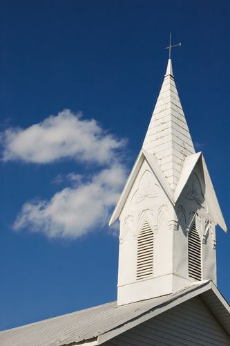 White steeple of country church, Warfordsburg, Pennsylvania.