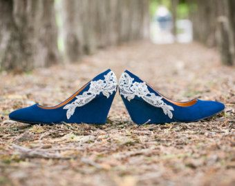 Wedding Shoes Blue Wedges Heels Low Wedge Something